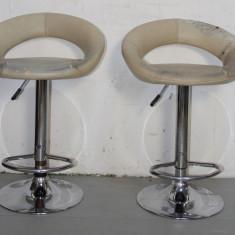 2 Buc. Scaun de bar reglabil cu picior metalic cromat; Scaune inalte - Mobila pentru baruri si cluburi