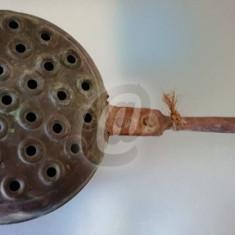 Tigaie pentru copt castane cu maner, cupru - Halba