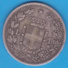 (1) MONEDA DIN ARGINT ITALIA - 1 LIRA 1884 R, UMBERTO I, NECURATATA, Europa