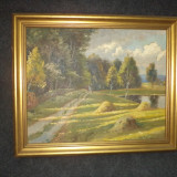 Ulei pe panza, semnat un tablou bine realizat antic in stare foarte buna - Pictor roman, Natura, Realism