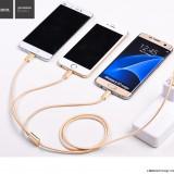 Cablu de incarcare textil 3 in 1 Hoco, USB + Lightning, MicroUSB, Type C - Cablu de date