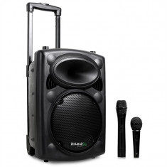 Sistem Audio Portabil Ibiza Port10VHF-N, mobil PA-Boxă, baterie, rotițe, BT, USB - Echipament karaoke