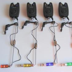 Set Complet 4 Avertizori Senzori Baracuda + 4 Swingere cu led + 4 tije - Avertizor pescuit Baracuda, Electronice