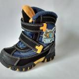 Ghete/ cizme impermeabile, imblanite, Super Gear, negru cu albastru si galben - Ghete copii, Marime: 22, 23, 24, 25, 26, 27, Baieti, Textil