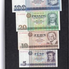 GERMANIA 1971 - 1975, BANCNOTE UNC, 5, 10, 20, 100 MARCI - bancnota europa
