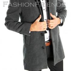 Palton tip ZARA gri - palton barbati - palton slim fit - cod 5411, Marime: S, Culoare: Din imagine