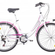 Bicicleta Oras Pentru Femei, Ferrini, 26 inch, Cadru 430 mm, 6 Viteze, Alb-Roz FERRINI - Bicicleta pliabile