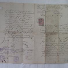 Document tribunalul Radauti 1898 cu timbre de 72 heller si 1 coroana - Hartie cu Antet