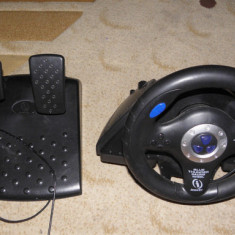 Volan+pedale+schimbator Blue Thunder Racing Wheel, PS, PS2