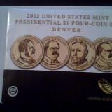 Monede de 1$ - presedinti USA - SET DE 4 MONEDE IN PLASTIC - AN 2012, America de Nord