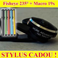Obiectiv Smartphone Clip on 2 in 1 - Fisheye 235 grade + Super Macro 19X