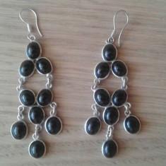 Cercei candelabru din argint cu onix (piatra neagra) - Cercei argint