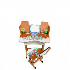 Birou Copii cu Masuta, Etajera si Scaun KT0023 Portocaliu - Masuta/scaun copii