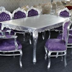 Set MASA dining + 8 Scaune clasice baroc din lemn argintiu/mov - Masa living
