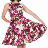 F498 Rochie skater cu imprimeu floral, stil retro - Rochie de club, Marime: M, M/L, S/M