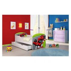 Pat Junior 140 x 70 cm cu saltea si sertar Formula 1 Acma - Patut lemn pentru bebelusi