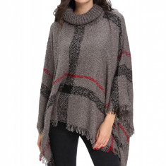 K501-18 Poncho tricotat cu model si guler inalt - Esarfa, Sal Dama, Marime: Marime universala