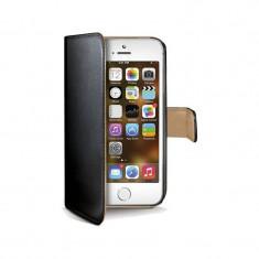 Husa Flip Cover Celly Wally185 Agenda negru pentru Apple iPhone 5 / 5S - Husa Telefon Celly, iPhone 5/5S/SE